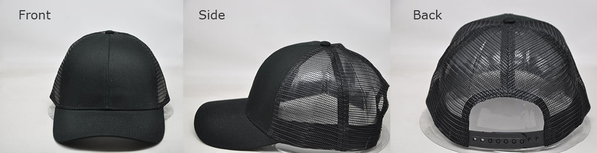 Black Mesh back customizable ball cap