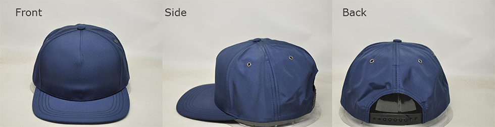 Customizable navy snap back ball cap